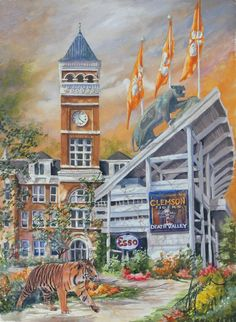 Anni Moller Prints & Original Paintings - Clemson Football Original Painting Available, email for more info rick Clemson Athletics, Clemson University Football, Clemson Tigers, Auburn Tigers, College Football, Auburn University, Fight Tiger, Tiger Paw, Football Stadiums