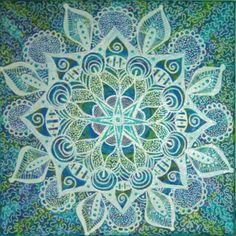 "Winter by Jen Marsh 12"" x 12"" Mandala Acrylic on canvas"