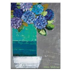 Artist Lane Nicole's Hydrangea Pot by Anna Blatman Painting Print on Wrapped Canvas