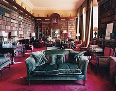 "Sir Harold Nicolson, nephew of the First Marquess, called the library ""one of the pleasantest rooms on earth."" The bookcases are inscribed in gilt with the names of Greek gods."