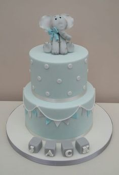 Baby Blue Christening Cake - Baby Blue Christening Cake – cake by The Buttercream Pantry - Elephant Baby Shower Cake, Baby Shower Cakes For Boys, Baby Boy Cakes, Boy Baby Shower Themes, Elephant Cakes, Baby Boy Christening Decorations, Baby Boy Christening Cake, Baby Boy Birthday Cake, Babyshower Cake Boy