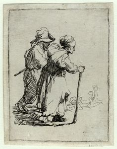 Rembrandt van Rijn (1606 - 1669): Two tramps, a man and a woman  etching