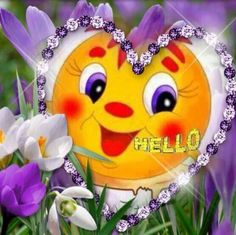 Beautiful Flower Drawings, Beautiful Flowers, Hello Friends Images, Good Morning My Sweetheart, Bonjour Gif, Tierischer Humor, More Emojis, Silly Love Quotes, Love Heart Images