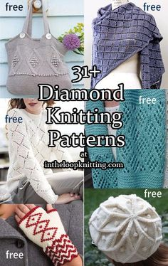 Diamonds are a knitter's best friend – diamond motifs that is — in diamond lace, diamond cables, diamond stitch patterns, diamond colorwork in these knitting patterns, most are fr…