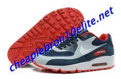 Dark Blue Nike Air Max 90 Mens Grey and Red 333888 061 Nike Air Max White, Nike Air Max Mens, Dark Blue, Blue And White, Black, Air Max Sneakers, Sneakers Nike, Blue Nike, Air Max 90