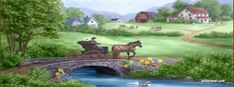 Free Spring Greetings Featuring Artwork by Penny Parker- Beautiful Paintings, Beautiful Landscapes, Cenas Do Interior, Elven City, Penny Parker, Decoupage, Farm Paintings, Forest Flowers, Cottage Art