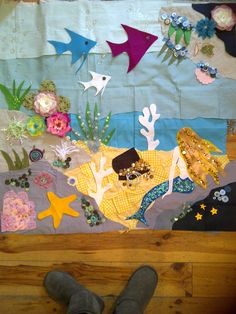 """""""under the sea"""" all layed out and ready to stitch."""