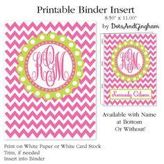 Printable Binder Insert Chevron and Monogram- Binder Insert - Chevron-Pink and Green- by DotsAndGingham. 5.00, via Etsy.