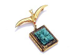 Rare Coro Bird Pin Locket Vintage Locket Pin Brooch by LoveLockets