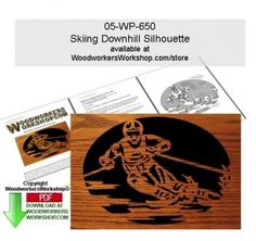 05-WP-650 - Skiing Downhill Scrollsawing Woodworking Downloadable Pattern PDF This slalom this skier has only fractions of a second needed to win the mountain. This scroll saw silhouette pattern is a good woodworking plan for beginners to practice cutting tight spots and quick turns. Create a plaque silhouette like you see here or incorporate into a project like a lid on a box or a panel on a door.