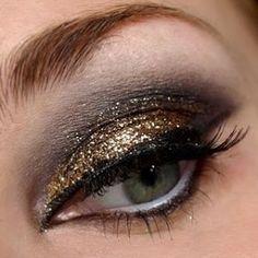 Gold Glitter + Black Smokey Eye