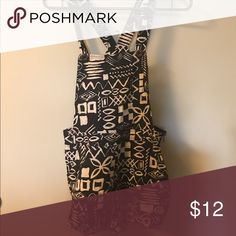 Printed overalls Black and beige funky print short overalls. Pants