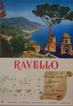 """""""Mi magico giardino di Klingsor e trovato"""" Wagner Original Italian travel poster. Circa 1950. Printed in Italy."""