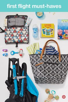 It's your baby's first flight. Be prepared for anything by having a bag filled with all the must-haves to keep Baby happy during travel. Pack lots of diapers and wipes, changing pads, bottles, snacks, blankets, pacifiers, toys, books and a convenient collapsible stroller. TIP: Time feedings for take off and landing. It helps relieve pressure from your little one's ears. A pacifier will do the trick, too!