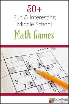 50+ Fun and Interesting Middle School Math Games  Looking for games to help you review math concepts? Middle school math - learning fractions, decimals, and algebra, is a bit more challenging. That's why I compiled this list of math games that would work for my older homeschoolers. These games will teach and challenge your junior high student.