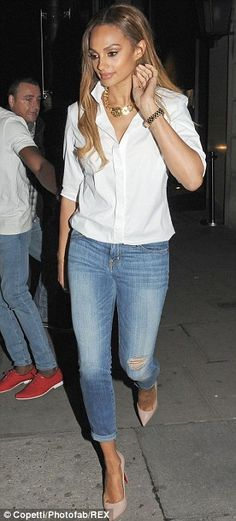 Alesha Dixon in skinny jeans and white shirt - Pic3