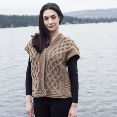 3d35719dd4724b Ravelry  Celtic Cable Kimono Vest pattern by Shannon Dunbabin Sweater  Knitting Patterns