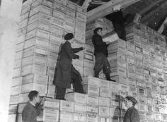 British Red Cross food parcels going to Channel Islands | Store of food parcel crates in Geneva waiting to go to the Channel Islands on the International Red Cross ship SS Vega, 1944-1945.
