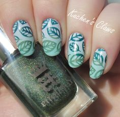 Fancy Gradient Blue & Green Leaf Stamping Nails : http://kuchensclaws.com/fancy-friday-multi-colored-stamping/