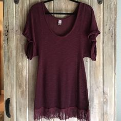 FREE PEOPLE SHEER BOHO FRINGE TOP LIKE NEW NO SNAGS OR MARKS WORE ONCE. ITS A GREAT PIECE TO ADD TO YOUR COLLECTION Free People Sweaters