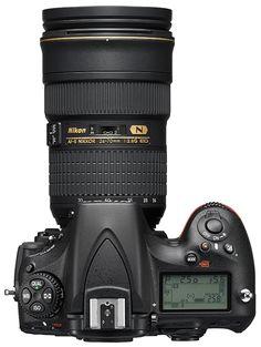 Nikon D810 and AF-S Nikkor 24-70mm f/2.8D ED lens, top view