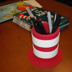 """Cat In The Hat"" Hat Pen/Pencil Holder PTA celebrates Dr Seuss every year this is a perfect decoration and teacher gift. Teacher Appreciation Gifts, Teacher Gifts, Dr Seuss Week, Dr Suess, Kids Office, Cute Pens, Summer Camps For Kids, Classroom Themes, School Fun"