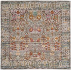 VAL108C Rug from Valencia collection. This grey floral design area rug, from the Valencia Collection of Safavieh transitional rugs displays petite blooms in vibrant colors and an antique patina.