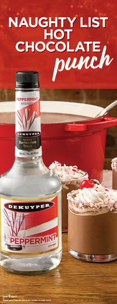 Naughty List Hot Chocolate: 1 part Pinnacle® Original Vodka part DeKuyper® Peppermint Schnapps Hot Chocolate Whipped Cream Cherries INSTRUCTIONS Rim mug with crushed candy canes. Pour ingredients into mug. Garnish with whipped cream and a cherry. Christmas Cocktails, Holiday Drinks, Party Drinks, Holiday Treats, Fun Drinks, Yummy Drinks, Holiday Recipes, Beverages, Alcoholic Drinks