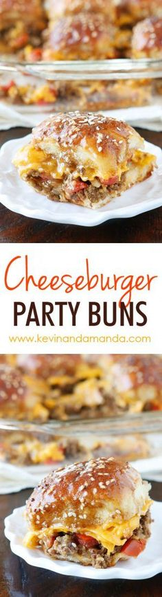 These Cheesy Party Burgers are so fun! Great to serve to a crowd or just to make dinner fun. Perfect for parties because you can make them the night before and cook the next day. If you want to start the party, make these Cheesy Party Burgers!! Dinner For Party, Sunday Night Dinner Ideas, Party Food For Kids, Dinner For Crowd, Food For Parties, Party Food Ideas, Fun Dinner Ideas, Easy Party Food, Party Recipes