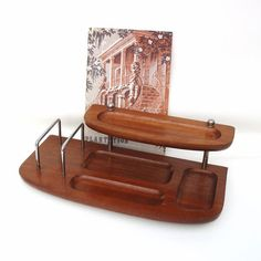 Vintage Mens Valet Wooden Dresser Tray Jewelry Organizer Wood Caddy Dresser Tray…