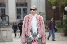 Chanel's Pink Fur Coat and Bow Blouse  - Seventeen.com