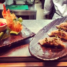 Prawn Kataifi & Mushroom #Gyoza on their way to your table! (^_−)☆