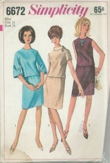 An original ca. 1966 Simplicity Pattern 6672.  Misses' Two-Piece Dress:  The slim skirt with gathers has back zipper and waistband.  Top with slightly lowered round neckline has back separating zipper.  Collarless V. 1 has below elbow-length, bell-shaped, set-in sleeves.  V. 2 with bias roll-type collar has short set-in sleeves.  V. 3 is collarless and sleeveless.