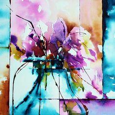 Absolument mauve (Peinture),  30x30 cm par Véronique Piaser-Moyen Aquarelle originale sur papier 300G