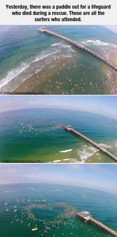 Yesterday, there was a paddle out for a lifeguard who died during a rescue. These are all the surfers who attended. :)