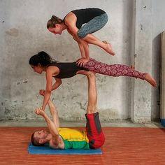 Bob and Trish, acro-yoga, three person acro pose, bird, crow