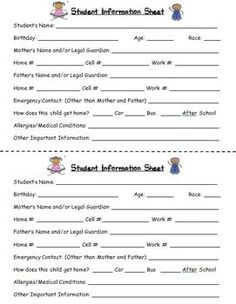 Student Information Form Freebie … | Pinteres…