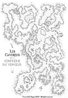 Caves - Dieux Ennemis RPG Commission map cartography | Create your own roleplaying game material w/ RPG Bard: www.rpgbard.com | Writing inspiration for Dungeons and Dragons DND D&D Pathfinder PFRPG Warhammer 40k Star Wars Shadowrun Call of Cthulhu Lord of the Rings LoTR + d20 fantasy science fiction scifi horror design | Not Trusty Sword art: click artwork for source