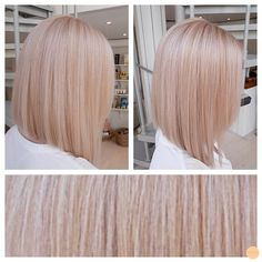 Pink ice hair by tami Blond Rose, Rose Gold Hair Blonde, Peach Hair, Champagne Blonde Hair, Pastel Blonde, Ice Hair, Hair Colorful, Hair Shows, Gorgeous Hair