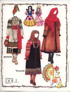 A fascinating selection of old Russian folk costumes for paper dolls.