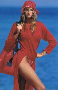 Elle France May 12th, 1987: Elle MacPherson by Gilles Bensimon - red beachwear