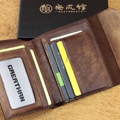 Overview: Design: Handmade Mens Cool Short Leather Wallet Men Small Wallets Trifold for MenIn Stock:  Ready to Ship (2-4 days)Include: Only WalletCustom: NoColo