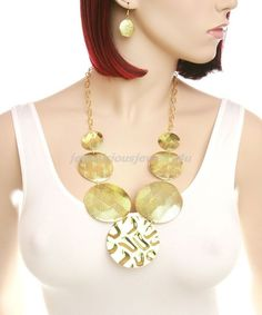 GOLD ROUND MULTI DISC/CIRCLE TEXTURE DESIGN NECKLACE EARRING SET METAL #ACCESSORY #Pendant