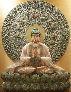 Buddha and the 8 Auspicious Symbols of Buddhism Lotus Buddha, Art Buddha, Buddha Buddhism, Buddha Life, Statues, Buda Zen, Taoism, Tibet, Religious Art