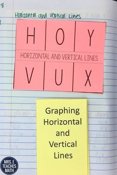 Graphing Horizontal and Vertical Lines Interactive Notebook Idea for Algebra 1
