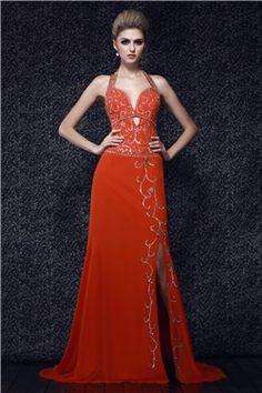 Beaded Bodice Halter Neckline Floor-length Hot Sell Dasha's Evening Dress
