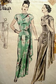 1940s Style Ultimate Formal Tiki Side Shoulder Drape Sari Dress Custom Made in Your Size From a Vintage Pattern by SewVintageSeamstress on Etsy https://www.etsy.com/listing/458116496/1940s-style-ultimate-formal-tiki-side