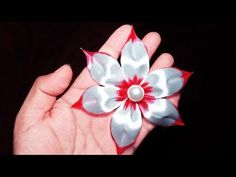 (806) How to make ribbon Flower hair clip I DIY Flower Hairclip I Kanzashi flowers - YouTube