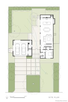 Passive back yard cooling with prevailing breeze flowing through the central open covered entry. Narrow House Designs, Narrow House Plans, Modern House Plans, House Floor Plans, Architecture Plan, Residential Architecture, Architecture Diagrams, Architecture Portfolio, Building Plans