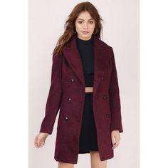 Glamorous Byron Long Peacoat ($122) ❤ liked on Polyvore featuring outerwear, coats, burgundy, long pea coat, double-breasted coat, burgundy coat, purple pea coat and pea jacket